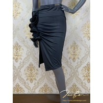 《BY TERRY佳衯自創》側抓褶開叉荷葉裝飾半身裙