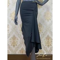 《BY TERRY佳衯自創》不規則叉荷葉半身裙